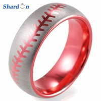 SHARDON Engagement Rings 8mm surface width jewelry fashion rings for couples 2017 trendy baseball red wedding bands