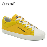 Tênis de Marca Mulher CANGMA Sapatas de lona Feminina Outono Moda Artesanal Sapatos das Senhoras das Mulheres Meninas Lace-up Calçado Amarelo