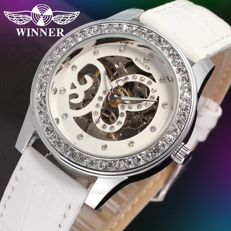WINNER Women Luxury Brand Skeleton Clear Stones Leather Lady Watch Automatic Mechanical Wristwatch Gift Box Relogio Releges 2016 2016 winner watches women lady luxury brand skeleton automatic mechanical wristwatches artificial leather band relogio feminino