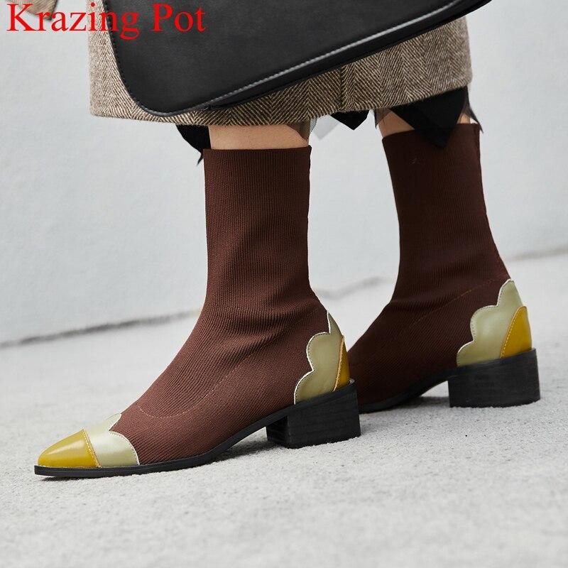 نجم وأشار اصبع القدم مختلط الألوان الحياكة ميد كعب النساء حذاء من الجلد أنيقة العلامة التجارية المدرج الحلو مكتب سيدة الشتاء الأحذية L05-في أحذية الكاحل من أحذية على  مجموعة 1