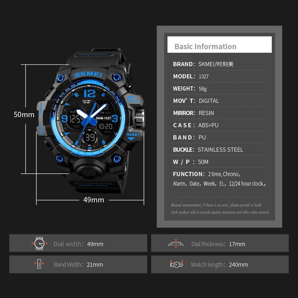 SKMEI Цифровой Chrono спортивные часы Для мужчин сигнализация двойной время с током часы Водонепроницаемый EL свет Для мужчин наручные часы Relogio ...