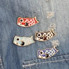 Vintage Lucky Cartoon Nishikigoi Japanese Fish Koi Enamel Pin Bijoux Broche Femme Male Unisex jewelry