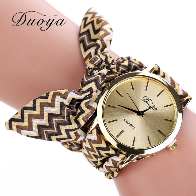Fashion Fabric Strap Bracelet Watch Luxury Gold Watch Women Watches Women Dress