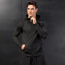 Зимняя спортивная куртка с капюшоном для мужчин, для фитнеса, Джерси, плотный Топ, для улицы, для футбола, спортзала, толстовка, ветровка, плюс бархат, для бега, спортивное пальто
