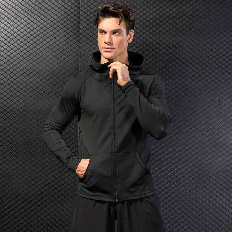 Winter Hooded Sport Jas Mannen Fitness Jersey Strakke Top Outdoor Voetbal Gym Hoodie Windjack Plus fluwelen Running Sport Jas