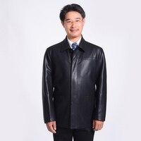 Middle Aged Mens Black Leather Jackets Man Zipper Turn Down Collar Split Sheep Leather Coat Jaqueta