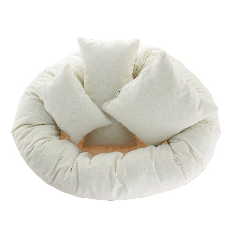Bebé foto trigo Donut posando apoyos 4 unids/set bebé almohadas anillo recién nacido fotografía apoyos de fotografía de relleno de cesta Fotografia Beanie