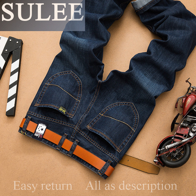 SULEE Brand Autumn winter SYT Hot Sale Men's Business Jeans Classic Leisure Solid Jeans Straight pants High Quality Plus Size