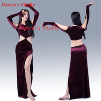 Winter Belly Dance Colthes Women Dance Suit For Girls Ballroom Dance Costumes Velvet Sexy Split Dress For Women M,L