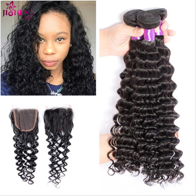 7a Unprocessed Brazilian Waterwave human Hair With Closure Annabelle Hair With Closur Grace Hair Company 3 Bundles With Closure