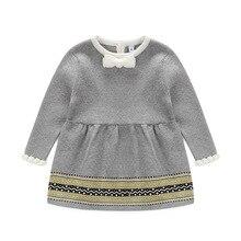 Новая мода Весна-осень-зима новорожденных свитер для маленьких девочек платье принцессы детские трикотажные Dress ребенок девочка Джерси платье фартук