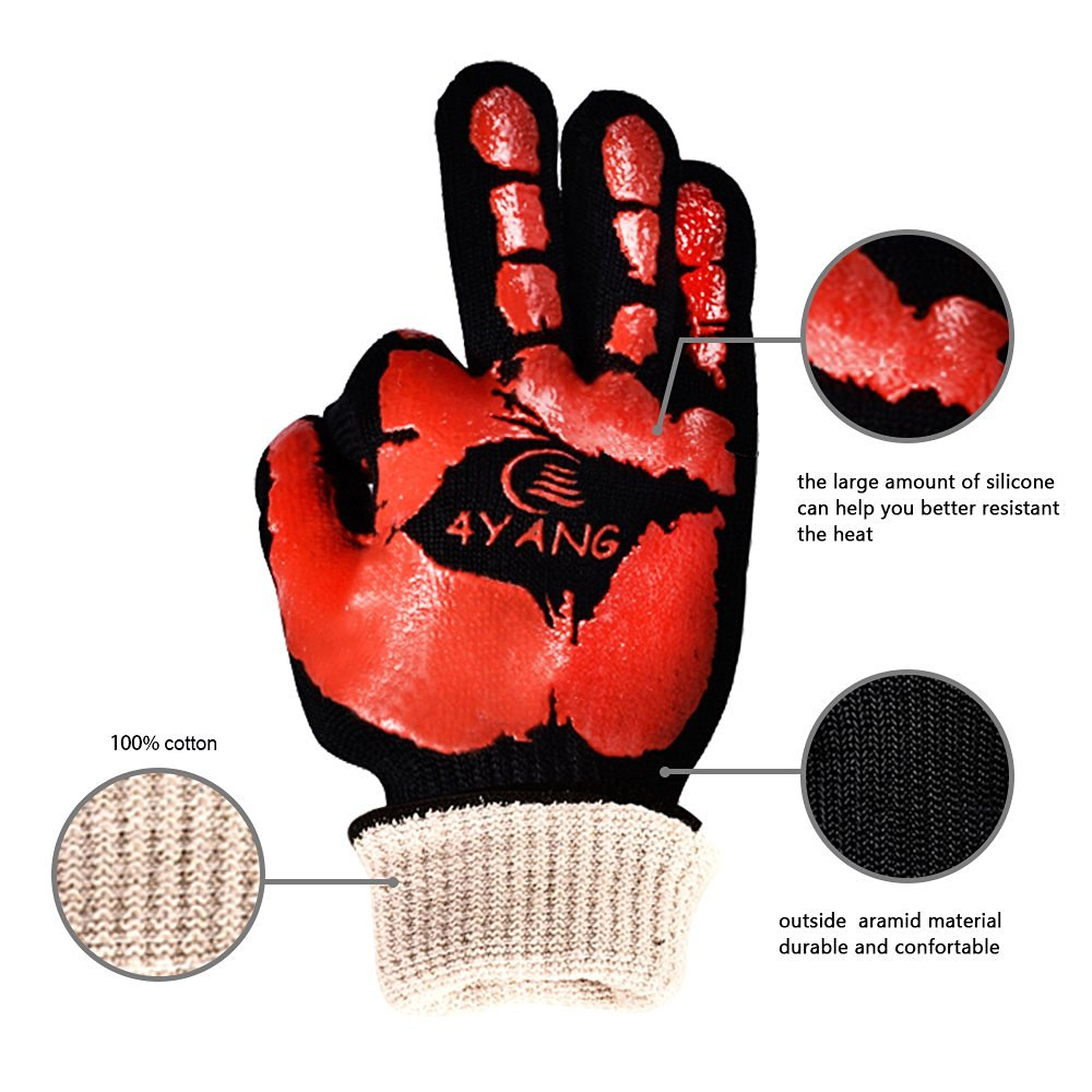BBQ Grilling Cooking & Heat Guardian Heat Resistant Gloves-Withstand Heat Up To 932F цена