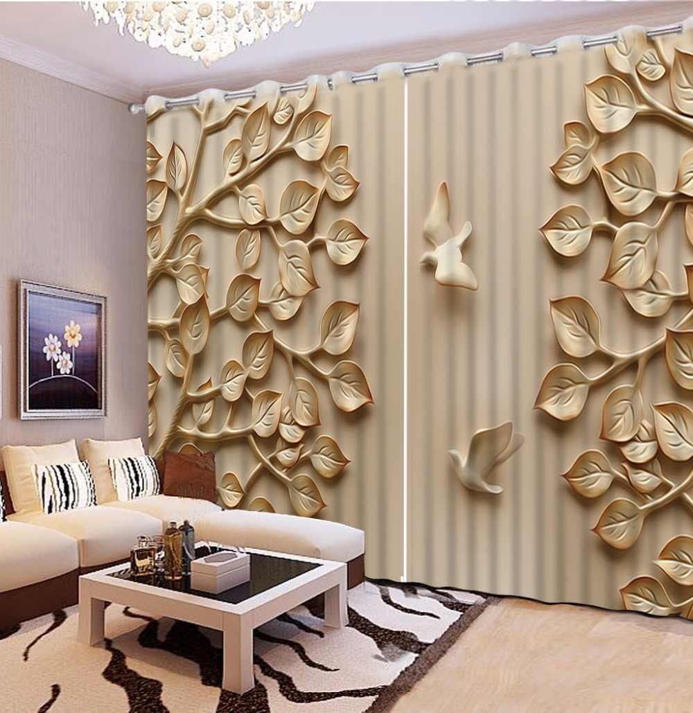 3D Curtain Fashion Customized Embossed Leaf Bird Photo Custom Size 3D Curtain Blackout Living Room Curtains For Bedroom