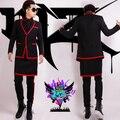 HOT Masculino cantora de boate DJ direito GD Zhi-modelos de passarela na Europa e América Do longo preto escovado avental vermelho trajes terno