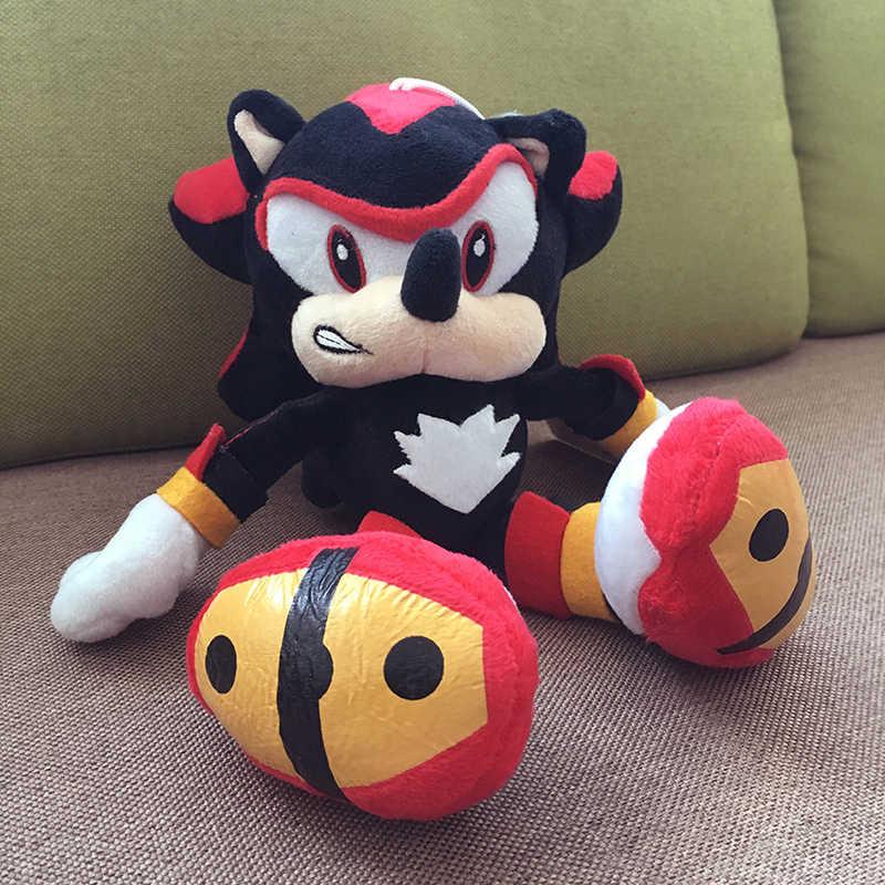 2 pçs/lote 28 cm Sonic Sonic Plush Toys Boneca Preto Sombra Azul Peluche Macio Brinquedo Crianças Presentes de Natal Frete Grátis