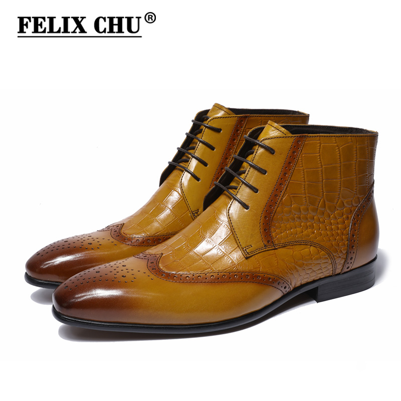 FELIX CHU 2018 Classic Crocodile Print Genuine Leather Men Ankle Boots High Top Brown Dress Shoes With Wingtip Detail Size 39-46 цена 2017
