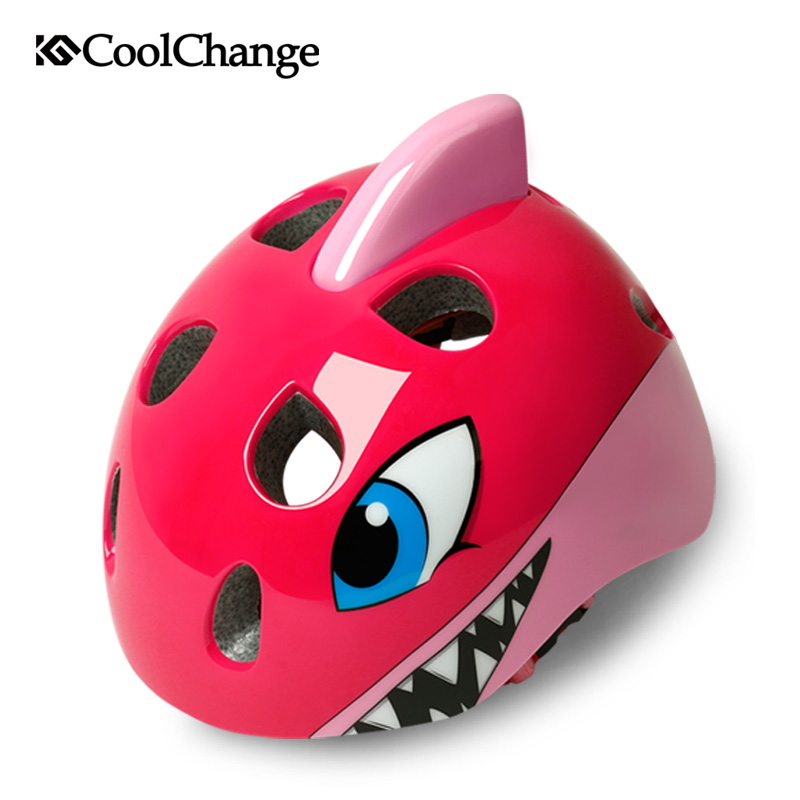 CoolChange Bicycle Helmets Child Cartoon MTB Road Bike Helmet Safety Kids Pulley Breathable PC EPS Cycling Helmet Casco Ciclismo