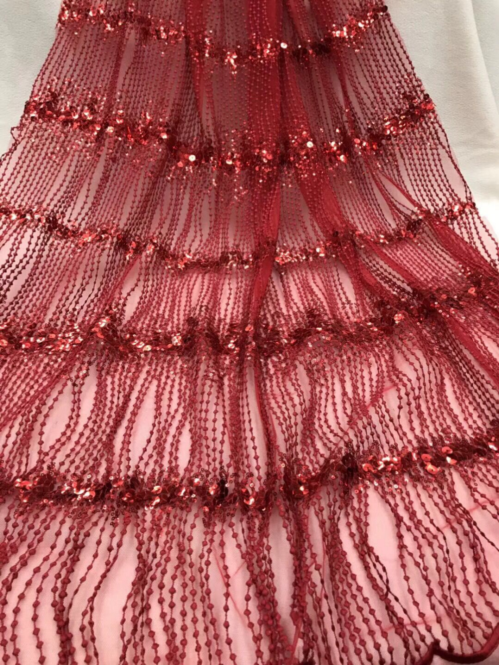 Red sequins lace fabric fringe tassels african french lace fabric Gold and  silver colour nigerian embroidered 7fe9fc823616