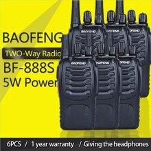 6個baofeng BF 888Sトランシーバーbf 888s 5 7w双方向ラジオポータブルcbラジオuhf 400 470mhz 16CHプロフェッショナルハンディラジオ