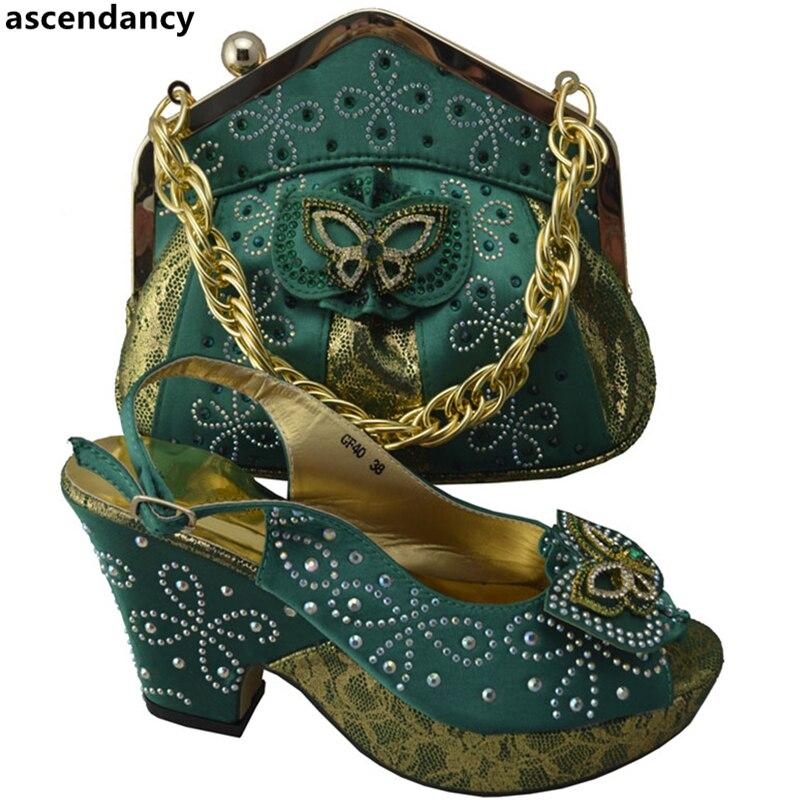 Nigérianes Et Couleur Noir Africaine De Soirée vert Italien Haute Femmes Noir Correspondant Chaussures Dans S Sacs Qualité Ensemble CIznqnwd