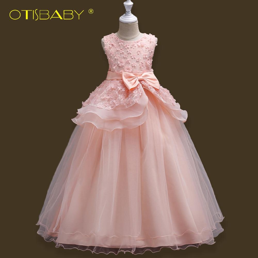 все цены на OTISBABY Children Formal Dress for Girls Flower Princess New Year Dresses Big Kids Girl Baptism Bow Ruffle Long Dress for 5-16 Y