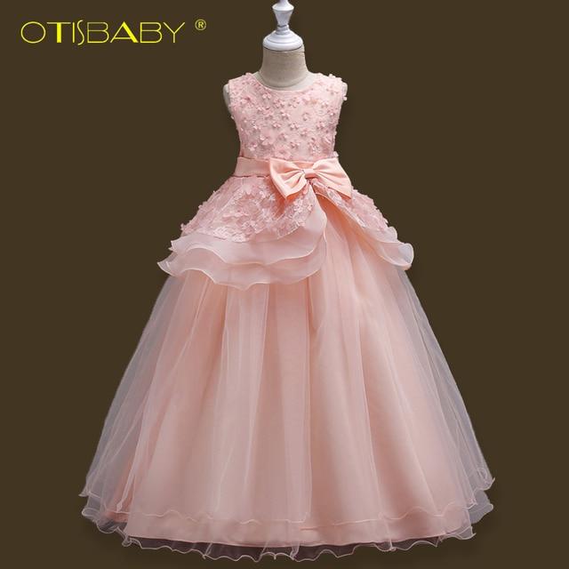 OTISBABY Children Formal Dress for Girls Flower Princess New Year Dresses  Big Kids Girl Baptism Bow Ruffle Long Dress for 5-16 Y 587ed04b7e90