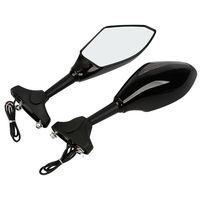 Motorcycle Universal Black Rear View Side Mirrors LED Turn Signal Dirt Bike Motorcycle For Honda Suzuki Kawasaki 2 Claws Bracket