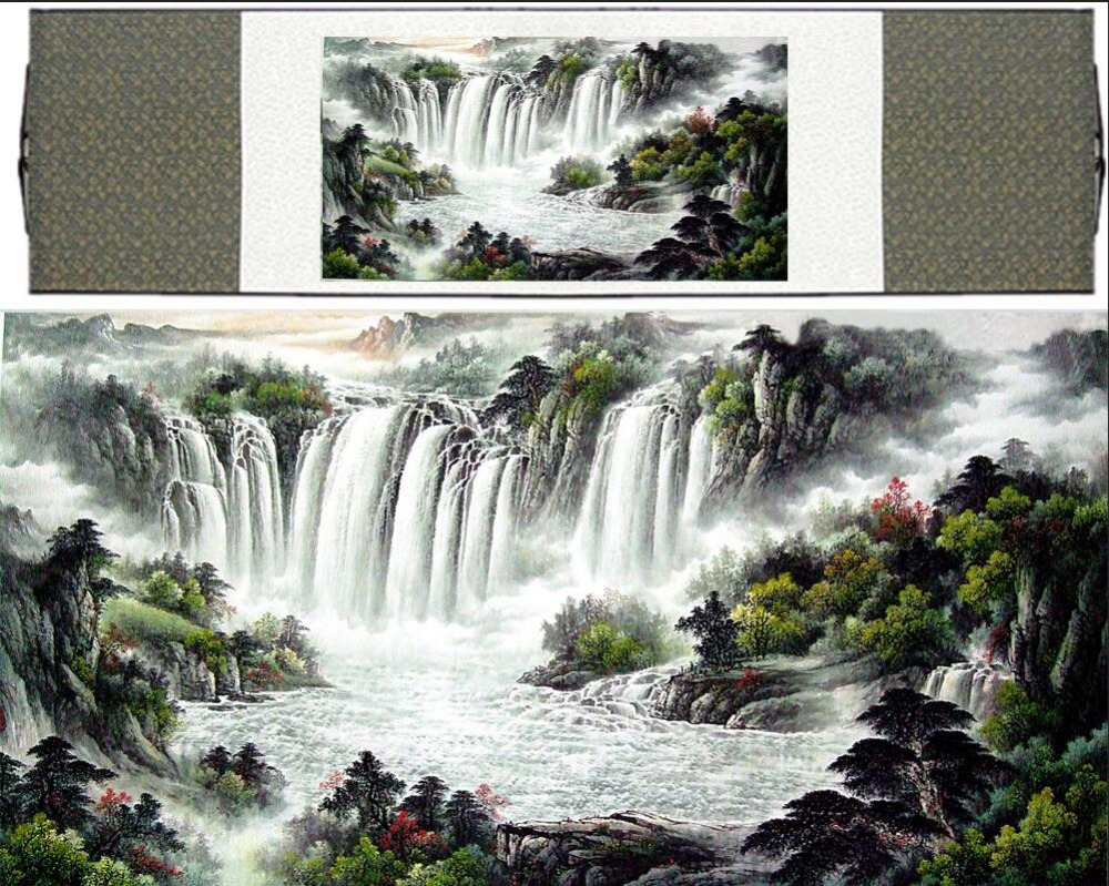 waterfall painting landscape art painting Mountain and River art painting mountains paintingPrinted painting