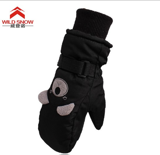 childrens thermal black bear ski gloves kids riding. Black Bedroom Furniture Sets. Home Design Ideas
