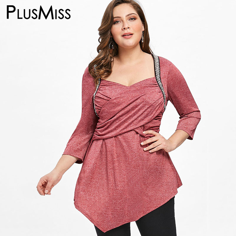 PlusMiss Plus Size 5XL Crossover Front Asymmetrical Tunic Top 3/4 Sleeve Vintage Retro Blouse Women Clothing Large Size Blusas