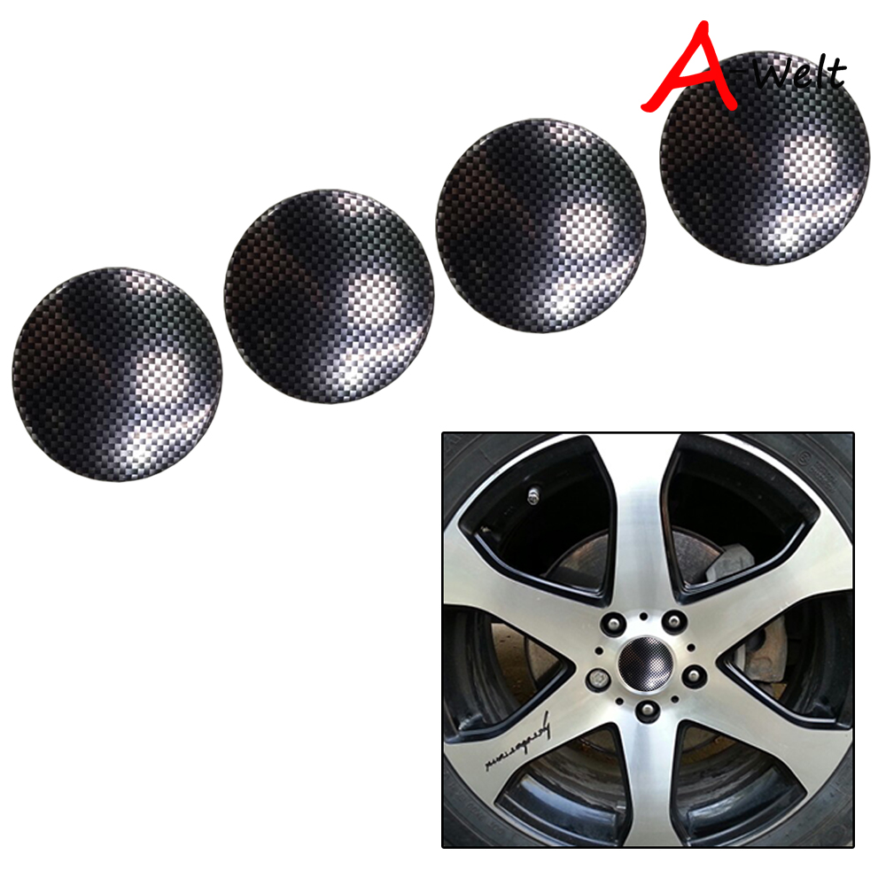 4pcs 56.5mm carbon fiber car emblem Wheel Center Hub Caps wheel Badge covers sticker Accessories For BMW Nissan And other models ...