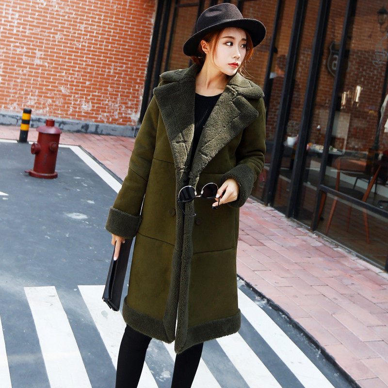 Winter Jacket Women Green Suede Coats Long Cotton Wadded Jacket Manteau Femme Parka Winter Coat Women Lambs Wool Jacket C2714 цены онлайн