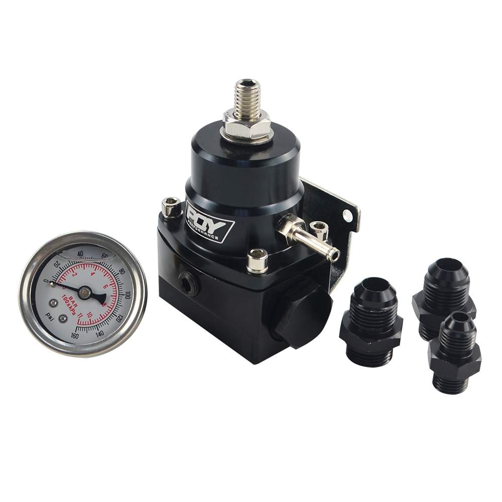 Image 4 - FREE SHIPPING   AN8 high EFI pressure fuel regulator w/ boost  8AN 8/8/6 PQY Fuel Pressure Regulator with gauge JR7855-in Oil Pressure Regulator from Automobiles & Motorcycles