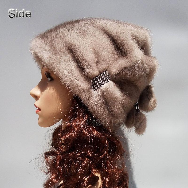New winter women lady real Mink fur hat High-end Rhinestone warm fur  natural mink fur hats basin cap Skullies Beanies 31d82867f73