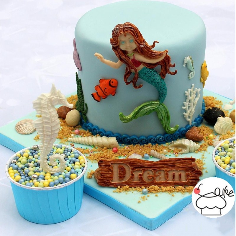 Aouke Ocean Coral Fish Mould Silicone Fondant mould Soft Tao Candy Chocolate Cake Decorating Tool Mould Kitchen Cooking Cake Too