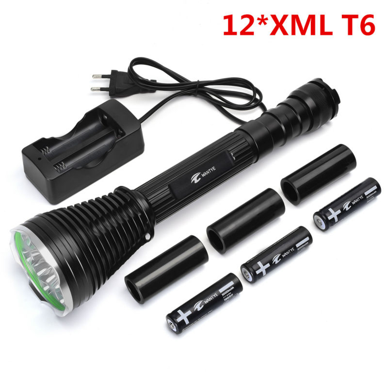12*Cree XML T6 LED 25000 lumen Outdoor waterproof floodlight flashlight,torch,lantern,camping light, lamp, Hunting with 3*18650 9 cree xml t6 led 20000 lumen 18650 26650 outdoor waterproof floodlight flashlight torch lantern camping light lamp hunting