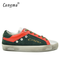 CANGMA Luxury Famous Brand Shoes Green Men Suede Leather Genuine Casual Flats Superstar Breathable Male Fashion