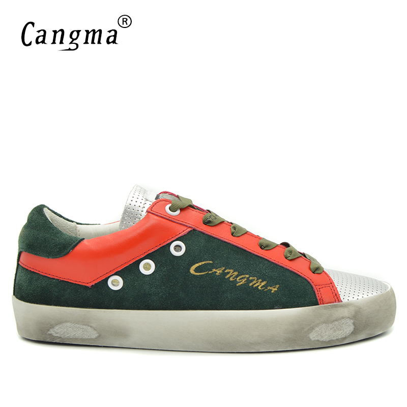 CANGMA Luxury Famous Brand Shoes Green Men Suede Genuine Leather Sneakers Casual Shoes Man Superstar Breathable Male Footwear top brand high quality genuine leather casual men shoes cow suede comfortable loafers soft breathable shoes men flats warm