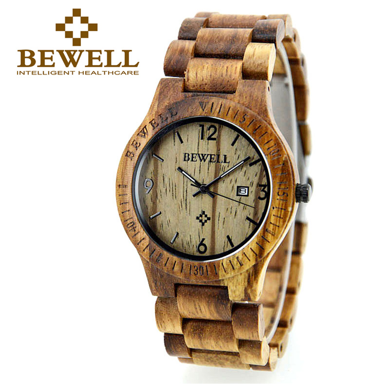 BEWELL Wooden Watch Men Round Case and Calendar Display Japan Quartz Movement Male Relogio Watches with Box as Gift 086B