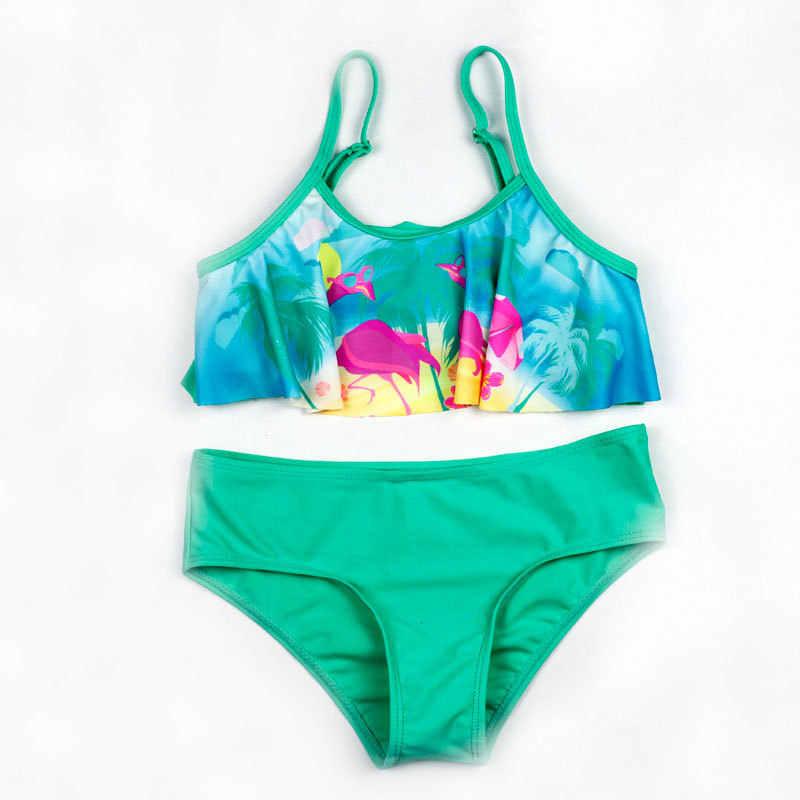 3-10 歳の女の子水着 2019 夏スプリットツーピースガールビキニセットフラミンゴプリント子供の水着ビーチウェア biquini