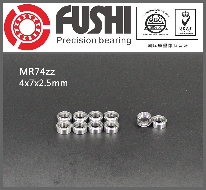MR74ZZ Bearing ABEC-1 (10PCS) 4*7*2.5 mm Miniature MR74 ZZ  MR74Z Ball Bearings L-740ZZ MR74-ZZ 6903zz bearing abec 1 10pcs 17x30x7 mm thin section 6903 zz ball bearings 6903z 61903 z
