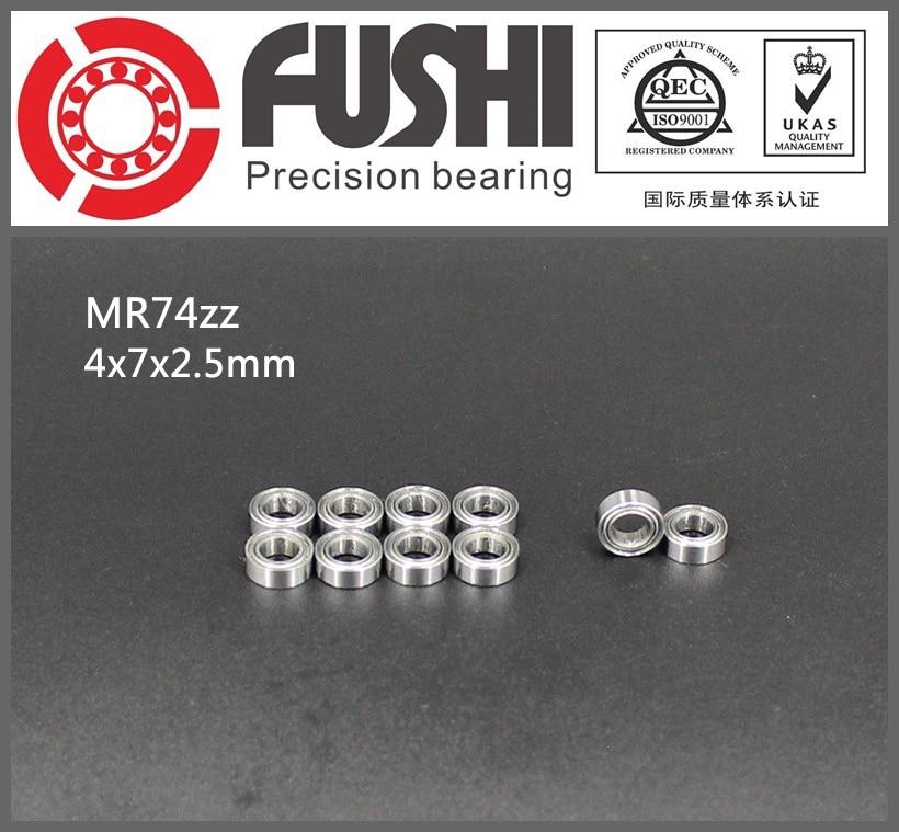 MR74ZZ Bearing ABEC-1 (10PCS) 4*7*2.5 mm Miniature MR74 ZZ  MR74Z Ball Bearings L-740ZZ MR74-ZZ 1pcs 71901 71901cd p4 7901 12x24x6 mochu thin walled miniature angular contact bearings speed spindle bearings cnc abec 7
