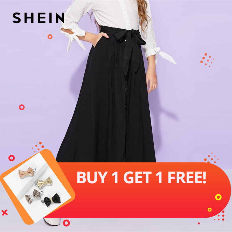 SHEIN Girls Black Solid Button Up Belted Casual Girls Skirts Kids Clothing 2019 Spring Fashion A Line Preppy Long Flared Skirts button embellished rolled up hem belted shorts