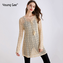 Young Gee Women Hoodies Knitted Sweater Hollow Out Long Sleeve Loose Jumper Female Pullover Knitwear Fashion Tops pull femme