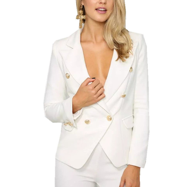 New European Single Breasted Suit Female White Blazer Jacket Office Suits For Women Lf27