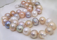 Wedding woman Real Pearl 11 12mm AAA Natural Huge Colorful Pearl Handmade Necklace Women Jewelry Freshwater Fashion Gift