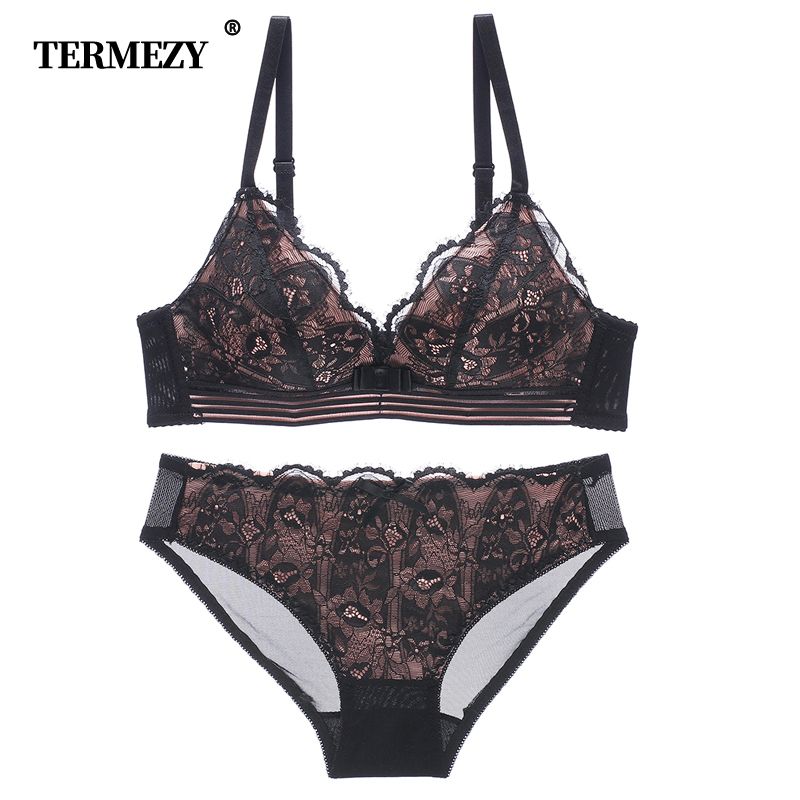 TERMEZY Sexy Women Underwear Bow Intimates Push Up   Bra     Set   wire free female Lingerie   Sets   Comfortable   Bra   and panty   Sets