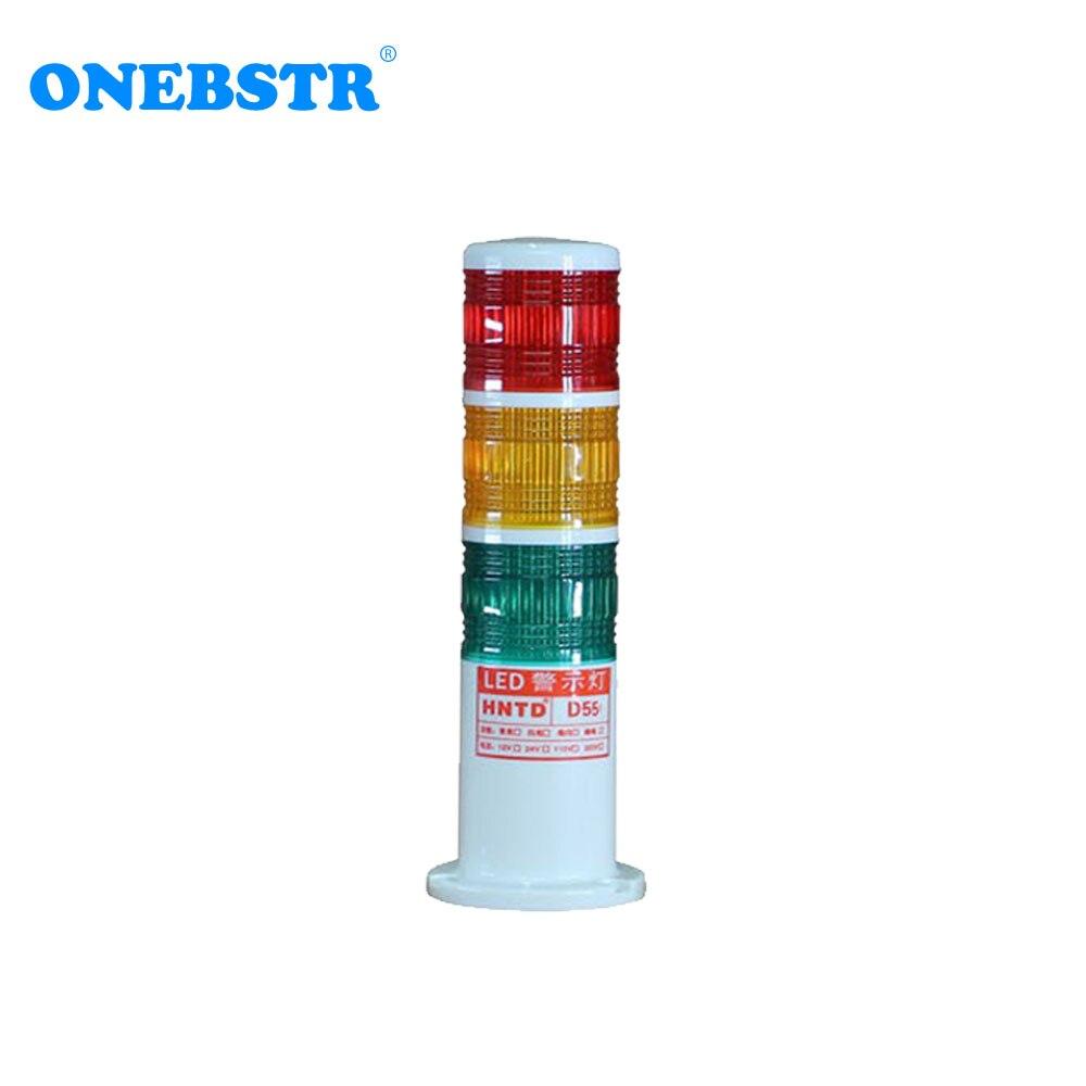 HNTD LED Signal 24V Indicator Warning Light Semaphores TD55 Barrel Type 3 Color Often Bright CNC Machine Tools Lamp FreeShipping