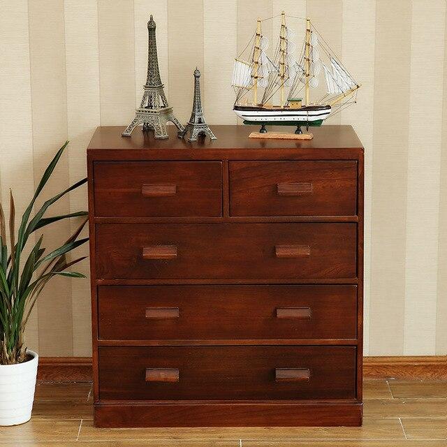 Muebles de madera maciza de cinco cajones de almacenamiento del ...