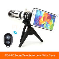 2017 New 5X 15X Zoom Lens Telephoto Telescope Lenses For iPhone 4 5 6 s 7 Plus Samsung S4 S5 S6 S7 edge note 5 Case with Tripod